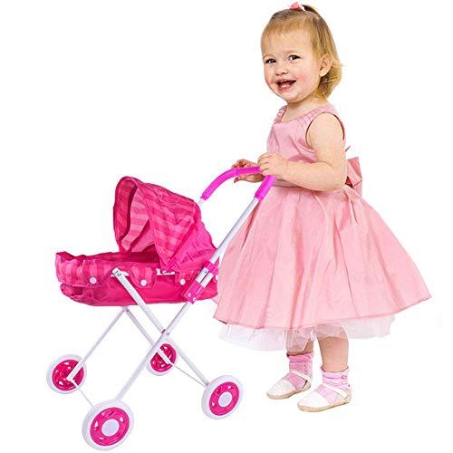 Baby Dolls Toy Trolley-Chariot de poupée pour enfants Garçons et filles Cadre en fer épaissi Oxford Panier à jouets en tissu avec un jouet de poupée simulé pour une utilisation intérieure et extérieur