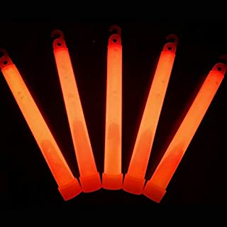 "Glow Sticks Bulk Wholesale, 25 6"" Industrial Grade Orange Light Sticks. Bright Color, Glow 12-14 Hrs, Safety Glow Stick with 3-Year Shelf Life, GlowWithUs Brand"