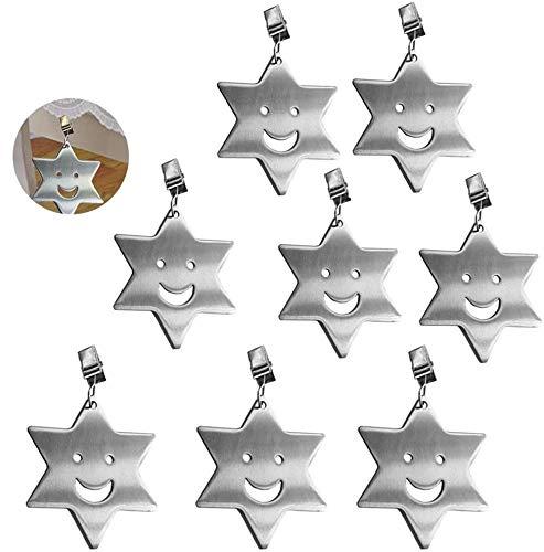 RASHION 8 Stück Tischdeckenbeschwerer, Edelstahl Tischtuchbeschwere, Tischdeckenklammern für Draußen Garten Ideal für Haus, Restaurant, Cafe (Star)