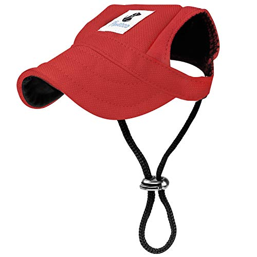 Pawaboo Dog Baseball Cap, Adjustable Dog Outdoor Sport Sun Protection Baseball Hat Cap Visor Sunbonnet Outfit with Ear Holes for Puppy Small Dogs, Small, Red