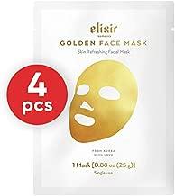 Elixir Cosmetics Gold Korean Face Mask - Moisturizing Collagen & Anti Aging Peel Off Facial Sheet Mask (4 Pack)