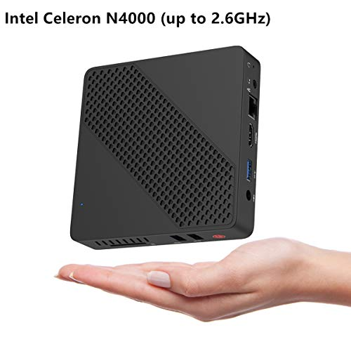 Lüfterlos Mini PC Intel Celeron N4000 (bis zu 2.6 GHz) 4GB LPDDR4/64GB eMMC Mini Desktop Computer Windows10 HDMI VGA Graphics 600, 2.4/5.8G Dual WiFi BT4.2 3×USB3.0, Unterstützt Linux, Auto Power On