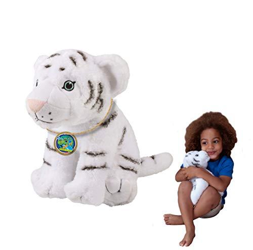 EcoBuddiez - Tigre Blanco de Deluxebase. Peluche Grande de 30 cm elaborado con Botellas de plástico recicladas. Lindo Peluche ecológico con Forma de animalito para niños pequeños.