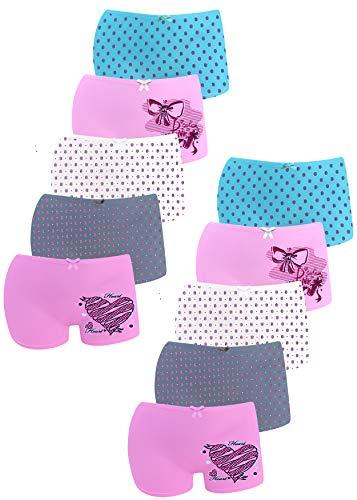 LOREZA ® 10er Pack Mädchen Pantys Boxershorts Unterwäsche aus Baumwolle (140/146, Modell 5)