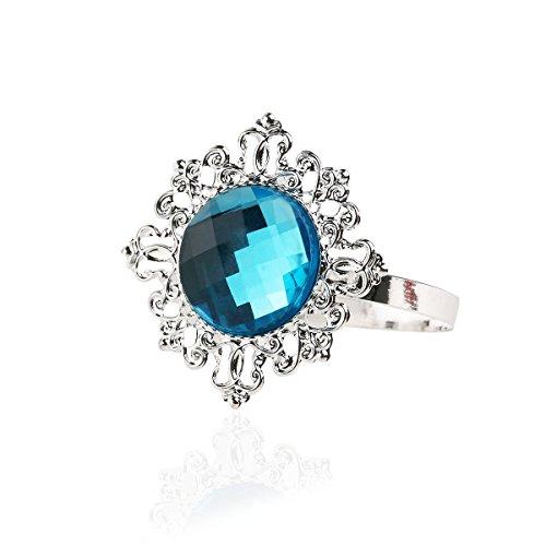 vorcool 12Acryl Serviette Ringe Serviette Inhaber Hochzeit Bankett Abendessen Dekoration (Silber) blau