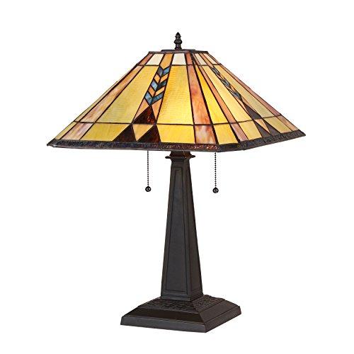 chloe lighting table lamps Chloe Lighting CH35519BM16-TL2 Tiffany Kent, Tiffany-Style 2 Light Mission Table Lamp, 15.9