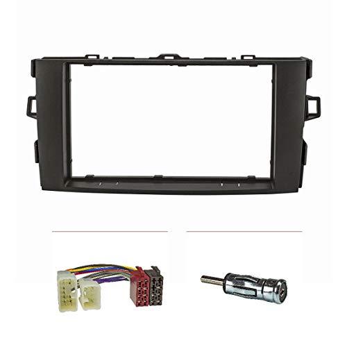 tomzz Audio 2455-005 Doppel DIN Radioblende Set passend für Toyota Auris E150 Bj.2007-2012 schwarz mit Radioadapter ISO, Antennenadapter ISO DIN