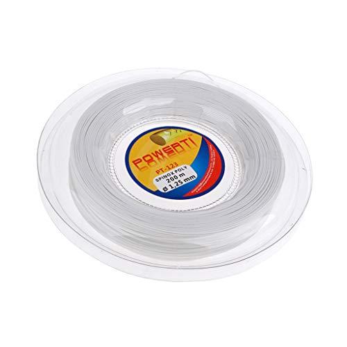 Sharplace Cuerda Deportiva Duradera de Poliéster para Raqueta de Tenis, 200 M, 1,25 Mm, Repuesto - Blanco, Tal como se Describe