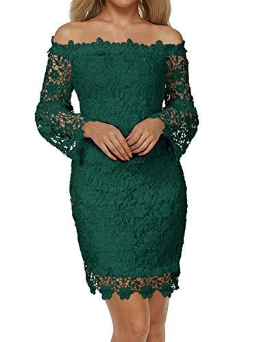 Auxo Damen Schulterfreie Langarm Kleider mit Spitze Elegant Blumen Kurz Abend Etuikleid Grün EU 40/Etikettgröße L