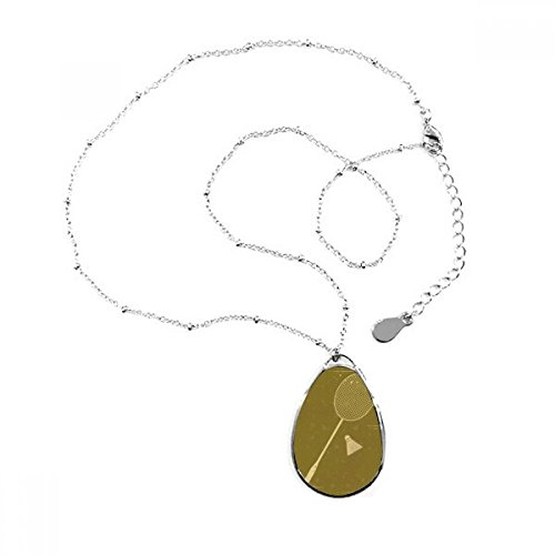 DIYthinker Sport Badminton Illustration Muster Tropfenform Anhänger Halskette Schmuck mit Kette Dekoration Geschenk