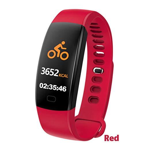 FXMINLHY Wasserdichtes Smart Armband Fitness Tracker Schrittzähler Fitness Band Wecker Vibrationsarmband Für Smartphone, Rote Herzfrequenz-Schrittzähler
