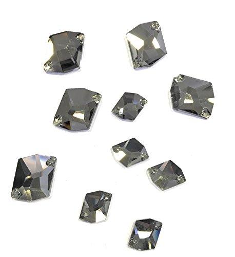 5. Zero® 10 pièces motif pierres de couture Gris (5 pz mm 17 + 5 pz mm 25)