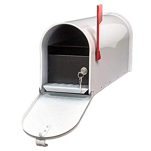 Qualarc E1-MLBX-LKIT-WHT Rust Proof Galvanized Mailbox with Locking Insert, Steel Latch and Red Aluminum Flag, White