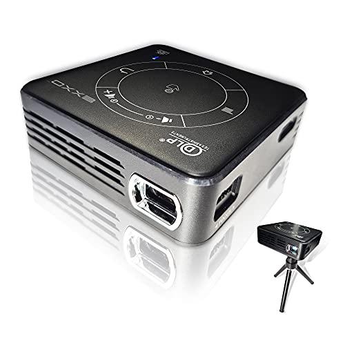 EXXO X2095BM - Mini proyector 4K 3D HD 1080P, ultra ligero 188 g, WiFi y Bluetooth, pantalla táctil, 3D VR & DLP, pantalla múltiple, para iPhone & Android, USB, HDMI, batería de 2 horas