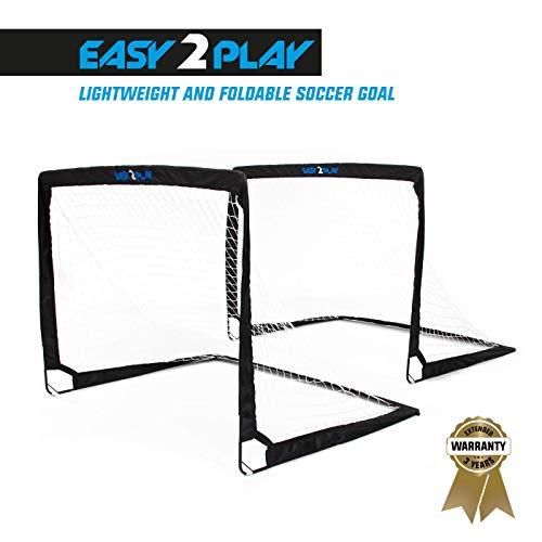 EASY2PLAY 2er Set klappbare Fußballtore Pop up Goal - Faltbares Tor je 120 x 90 x 90 cm - 3 Jahre Garantie