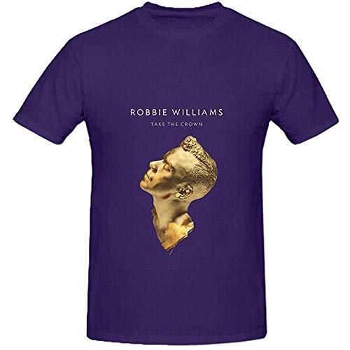 Robbie Williams Take The Crown Pop Men Crew Neck Screen Printed T Shirt L