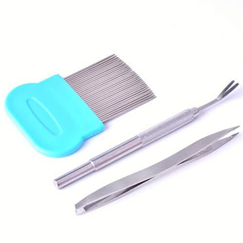 GLJYG Juego de 3 herramientas para eliminar garrapatas, de acero inoxidable, juego de extractor de garrapatas, pinzas de doble cabeza para perros, gatos, caballos, personas, color azul