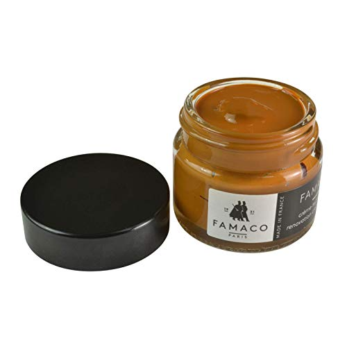 Famaco Leather Repair & Dye Cream | Self Seal Colourant for Quick and Easy Leather Repair | Suitable for Leather Sofas, Leather Car Seat, Shoes, Handbag, and more (Dark Tan)