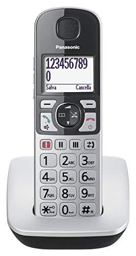 Panasonic KX-TGE510JTS Telefono Cordless (DECT), Ampio Schermo Retroilluminato, Tasti Grandi, Tasto Amplificatore ed Emergenza, Compatibilità con Apparecchi Acustici, Utilizzo Facilitato, Silver/Nero