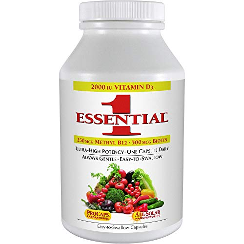 Andrew Lessman Essential-1 Multivitamin 180 Small Capsules 2000 IU Vitamin D3. 250 mcg Methyl B12. Lutein Lycopene Zeaxanthin. 24+ Nutrients. High Potency. No Additives. Ultra-Mild Only One Cap Daily