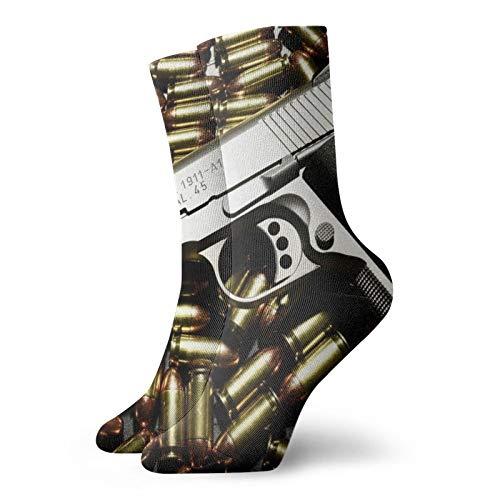 OUYouDeFangA Balas Y Pistolas Adulto Calcetines de Algodón Gimnasio Cortos Calcetines Para Yoga Senderismo Ciclismo Correr Deportes