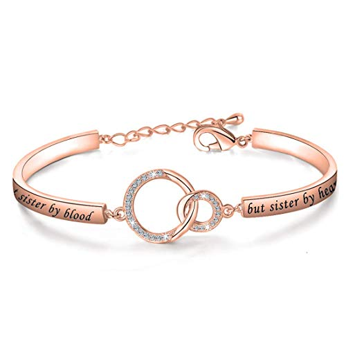 Gift for Best Friend Friendship Bracelet Not Sister by Blood But Sister by Heart Jewelry Friend Sister Bangle (rose gold)