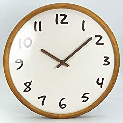 AROMUSTIME 13 Inches Round Wooden Wall Clock with Arabic Numerals Whisper Quiet Dome Glass Cover,White