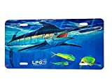 LPG Apparel Co. Big Game Sport Fishing Vanity Front License Plate Tag   Made in The USA (Mark Ray Blue Marlin)