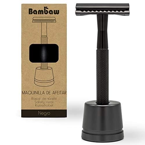 Maquinilla de Afeitar Clásica Color Negro | Maquinilla de Afeitar para Hombre | Con Soporte Cuchilla de Afeitar | Compatible con Todas las Hojas de Afeitar | Maquinilla de Afeitar | Bambaw