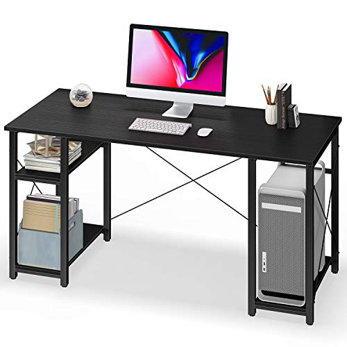 Computer Desk with Shelves,55' Modern Sturdy Writing Desk for Home Office,Office Desk with 3 Storage Shelves,Black