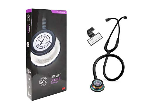 Classic III Monitoring Stethoscope, for Children and Adult, Lightweight Dual Head, Rainbow-Finish Chestpiece, Black Stem and Headset, Black Tube, 27 Inch, 5870 + Plastic Name ID