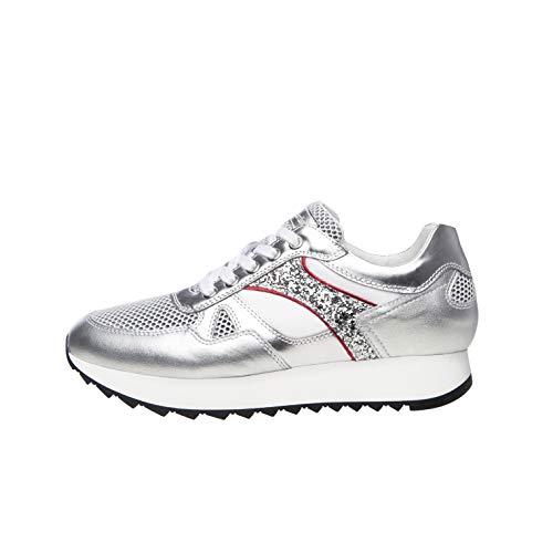 sneakers donna primavera 2020 Nero Giardini E010522D Sneakers Donna in Pelle - Argento 39 EU
