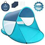 ISILER Pop Up Beach Tent, Automatic Instant 3-4 Person Sun Shelter, Portable Outdoor Beach Shade Tent, UV Protection Family Baby Beach Shelter, Windproof Waterproof Beach Canopy Cabana with Carry Bag