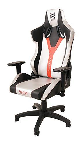 ELITE Predator Racing Gaming Stuhl - Bürostuhl – Kunstleder - Ergonomisch - Racer – Drehstuhl – Chair – Chefsessel – Schreibtischstuhl (Silber/Schwarz)