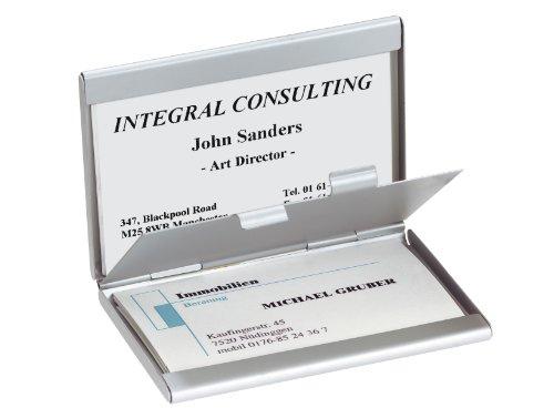 medidas del producto: 92x63x10 mm Para un máximo de 30 tarjetas (máx. 90 x 58 mm) Diseño: plateado, mate Material: aluminio Un práctico organizador de tarjetas liviano y super útil para toda persona que viaja mucho por trabajo.