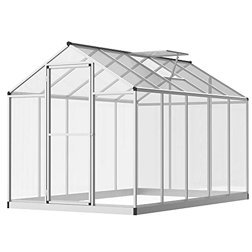 Outsunny Clear Polycarbonate Greenhouse Aluminium Frame Large Walk-In Garden Plants Grow 6 x 10ft