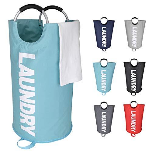 Lifestyle 2.0 Cesto para Ropa Sucia de Tela Cubo para Colada Plegable y Redondo Bolsa Canasta con Tapa y Asas 62 litros