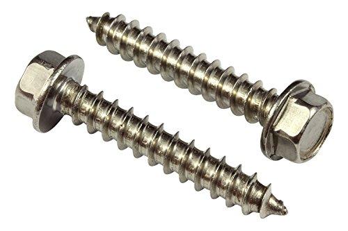 Edelstahl gekerbten Hex Waschmaschine Head Schraube, wählen Sie Größe/Menge, 18–8(304) Edelstahl Schraube von Dropper 3,8 cm #14 1-1/2 Inch