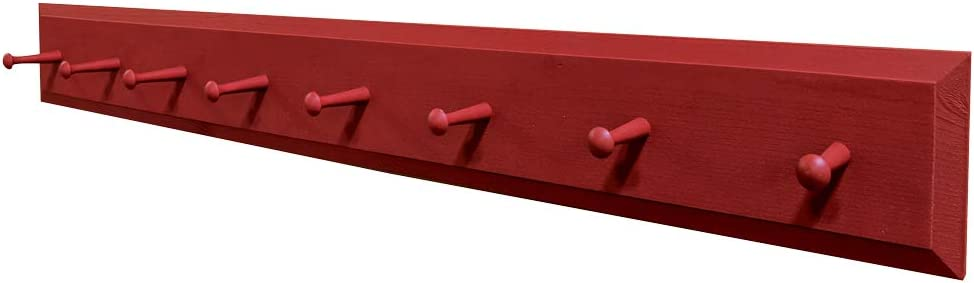 Sawdust City Wall Coat Rack with - Solid 4' Red Pegs Milwaukee Mall 5% OFF Long