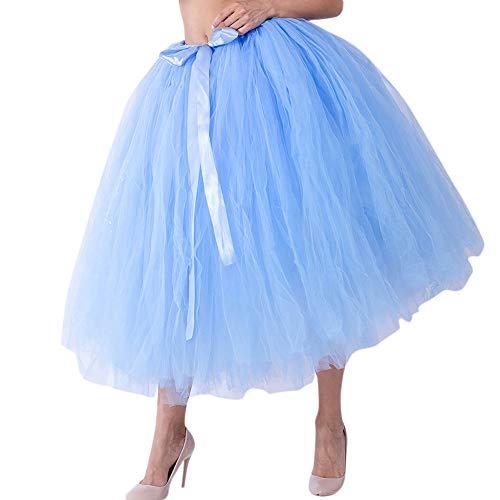 Likecrazy Mesh Tüll Tutu Damen Frauen Bubble Mode Minirock Tütü Cosplay Kurz Tanzkleid Party Minirock Weihnachten Kostüm Prinzessin A-Linie Kleid (Hellblau,one size)