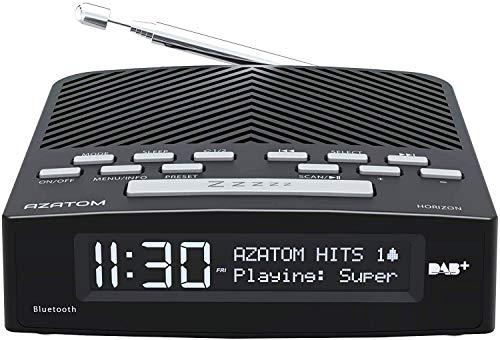 AZATOM Horizon DAB+ DAB Digital FM Radio, Dual Alarm Clock, Bluetooth 5.0, USB Moblie Charger, Headphone Socket (Black)