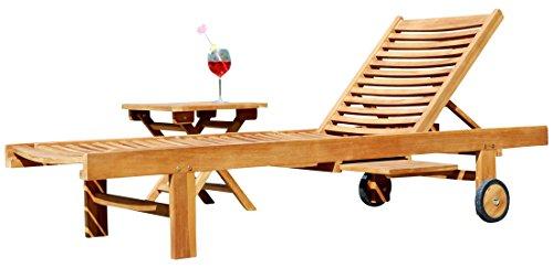 ASS Hochwertige Teak Sonnenliege Gartenliege Strandliege Liegestuhl Holzliege Holz sehr robust Modell: Cozy+ Beistelltisch 45x45cm von
