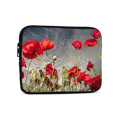 Waterproof Tablet Sleeves Bag Retro Poppy Flower Zipper Notebook Laptop Case for Kids Tablet Apple iPad
