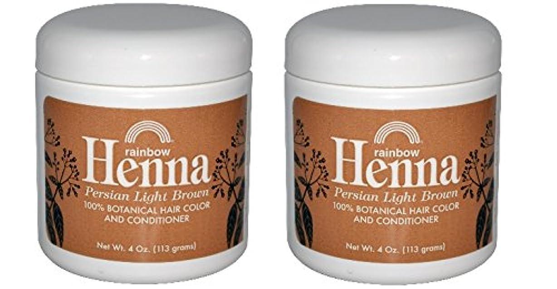 コールドシステム荷物【海外直送品】 2個セット 100% オーガニック ヘナ/ヘンナ ライトブラウン 113グラム 【2pk】 Rainbow Research, Henna, 100% Botanical Hair Color and Conditioner, Persian Light Brown, 4 oz