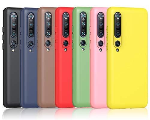 iVoler 7 Pezzi Cover per Xiaomi Mi 10 5G / Xiaomi Mi 10 PRO 5G, Ultra Sottile Silicone Custodia Morbido TPU Case Protettivo Gel Cover (Nero, Blu, Verde, Rosa, Rosso, Giallo, Marrone)