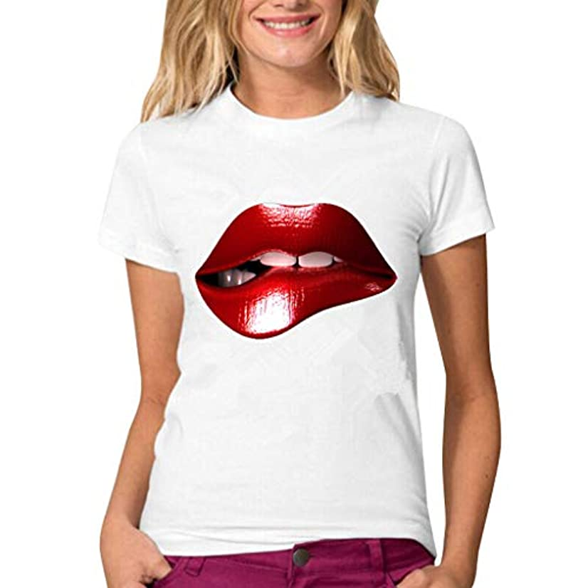 Tantisy ??? Women's Blouse Short Sleeve Sexy Red Lips T-Shirt Comfy Casual Tops Ladies Funny Creative Blouse