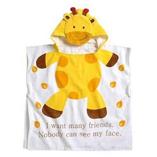 Mainaisi Serviettes de Bain Avec Capuche Pour Bébé Animaux 10 Couleurs (Yellow Giraffe,60 * 120CM)