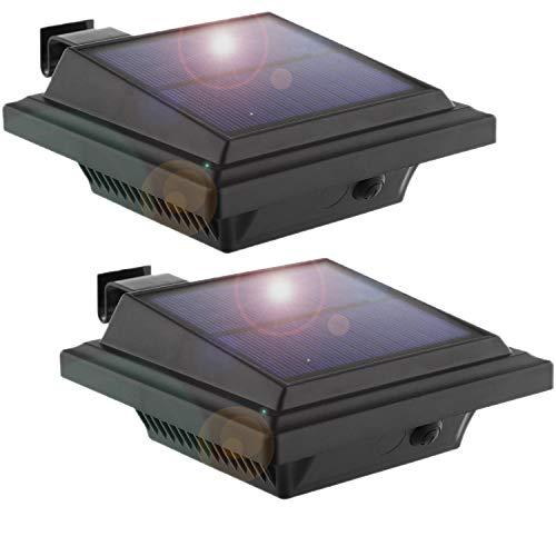 LED Solar Dachrinnenleuchte, KEENZO Solarlampen für Außen, 25LEDs Solarlicht, Auto ON/OFF, Schwarz,Kaltweißes Licht (2er set)