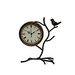 Wusfeng Vintage Table Clock Metal Bird-Shape Sculpture Classic Desk Clock with Roman Numerals Non-Ticking Old Fashioned Suitable for Home Decor