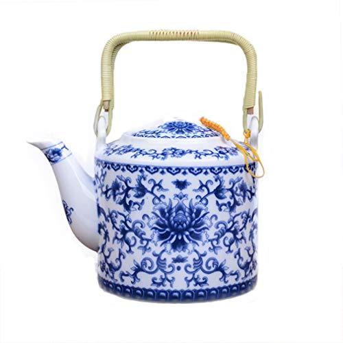 CUPWENH Théière en Porcelaine Bleue Et Blanche De 750 ML, Artiste avec Pot De Sable en Céramique À La Main, Théière De Thé Kung Fu, Théière Puer Kettle